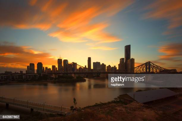Story Bridge and Brisbane city during sunset