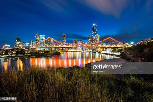 Story Bridge and Brisbane city during twilight