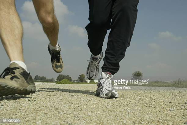 Story is tied to LAMarathon and will talk about how and where to run/jog in LA Ed Waschak left and Pat Connelly run at Sepulveda Dam in Van Nuys...