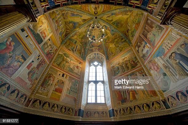 story of st. francis fresco, montefalco, italy - モンテファルコ ストックフォトと画像
