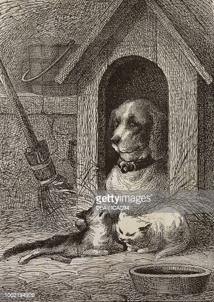 Story of the dog Blanchette and cats Arthur and Medor and how they became inseparable friends engraving from La Mode Illustree No 50 December 21 1873