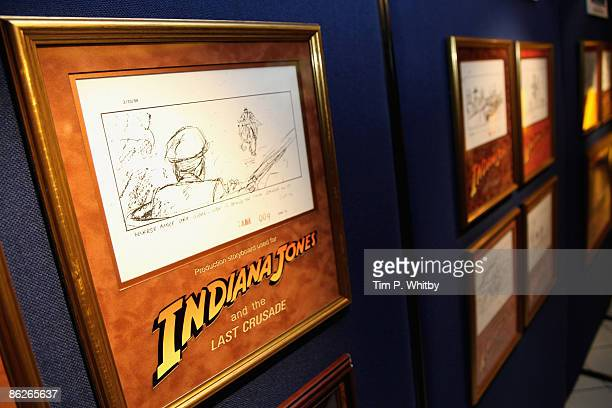 A storyboard drawing used in the making of the Indiana Jones series of films on display at The Charity Screening of Raiders Of The Lost Ark The...