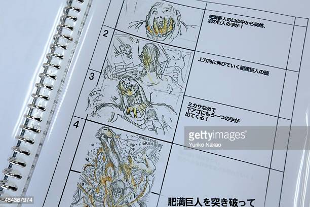 A storyboard drawn by director Shinji Higuchi for 'Attack on Titan' is pictured at a working room in Toho Studios on April 4 2014 in Tokyo Japan