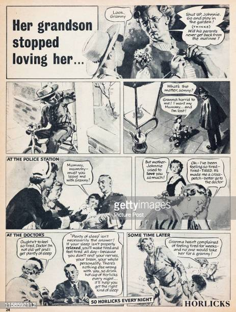 Storyboard format advertisement for Horlicks hot malt drink showing the possible effects of a bad night's sleep. Original Publication: Picture Post...