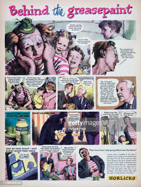 Storyboard format advertisement for the Horlicksmalted milk hot drink with the title 'Behind the greasepaint'. Original Publication: Picture Post Ad...