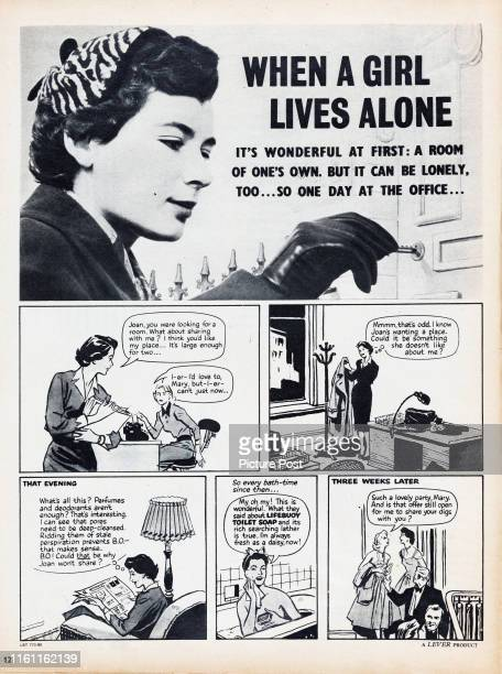 A storyboard format advertisement showing the possible benefits to personal hygiene from regularly using Lifebuoy Toilet Soap Original Publication...