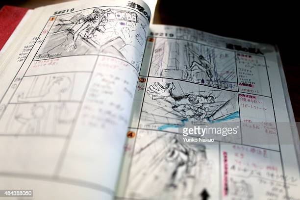 A storyboard of director Shinji Higuchi's film 'Attack on Titan' is pictured in Toho Studios on July 11 2014 in Tokyo Japan