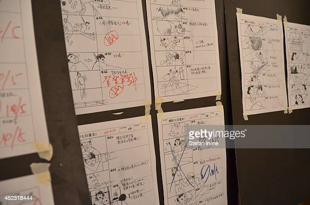Storyboards on the Hong Kong film set of Rigor Mortis a horror film about vampires The film is Juno Mak's directorial debut and is released in Hong...