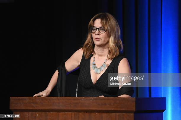 StoryTech founder Lori H Schwartz speaks onstage at the Advanced Imaging Society 2018 Lumiere Awards presented by Dell and Cisco at Steven J Ross...