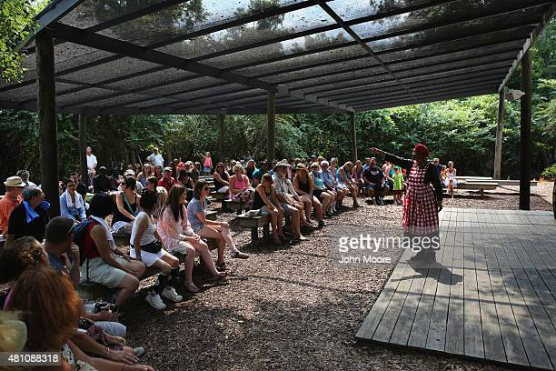Storyteller and dramatist Gloria Barr Ford dressed as a slave speaks to tourists at the Boone Hill Plantation on July 16 2015 in Mount Pleasant South...