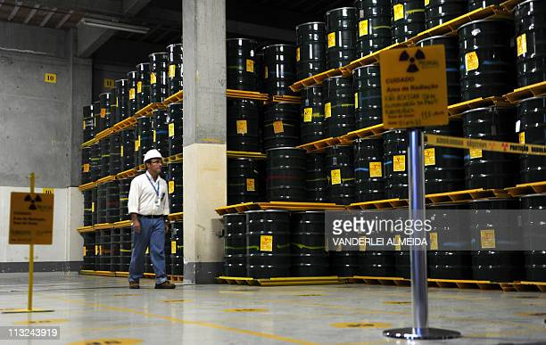 STORYView of containers with nuclear waste produced by the Angra 1 and 2 nuclear plants in Angra dos Reis some 150 km south of Rio de Janeiro Brazil...