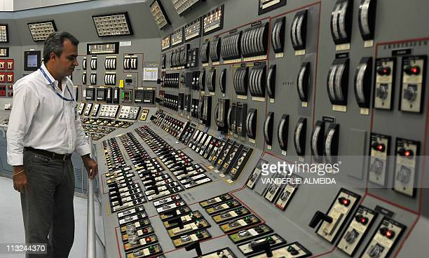 STORYView of the control room of the Angra 1 nuclear plant in Angra dos Reis some 150 km south of Rio de Janeiro Brazil on April 12 2011 The...