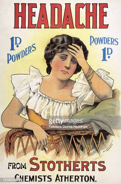 Stothert's Headache Powders English advertising poster for an effective product against migraines neuralgia and nervous diseases in general...
