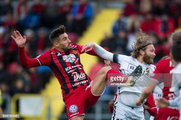 Stotirios Papagiannopoulus of Ostersunds FK and Emil Wahlstrom of BK Hacken during the Allsvenskan match between Ostersunds FK and BK Hacken at...