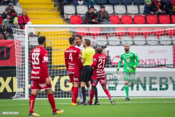 Stotirios Papagiannopoulus of Ostersunds FK and Mathias Ranegie of BK Hacken argue during the Allsvenskan match between Ostersunds FK and BK Hacken...