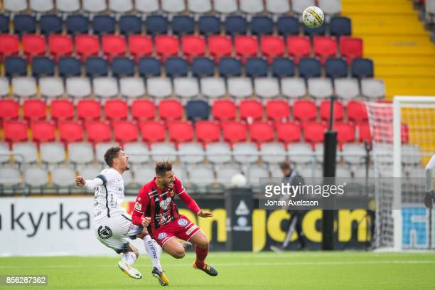 Stotirios Papagiannopoulus of Ostersunds FK and Mathias Ranegie of BK Hacken competes for the ball during the Allsvenskan match between Ostersunds FK...