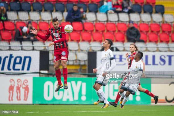 Stotirios Papagiannopoulus of Ostersunds FKduring the Allsvenskan match between Ostersunds FK and BK Hacken at Jamtkraft Arena on October 1, 2017 in...