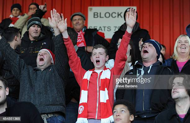 Stourbridge FC supporters enjoy the atmosphere before the FA Cup second round match between Stevenage FC and Stourbridge FC at The Lamex Stadium on...