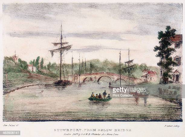 StourportonSevern Worcestershire from below the bridge c1795 On the left is a Severn Trow which was the type of sailing vessel that carried cargo on...
