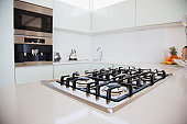 Stove and oven in modern kitchen