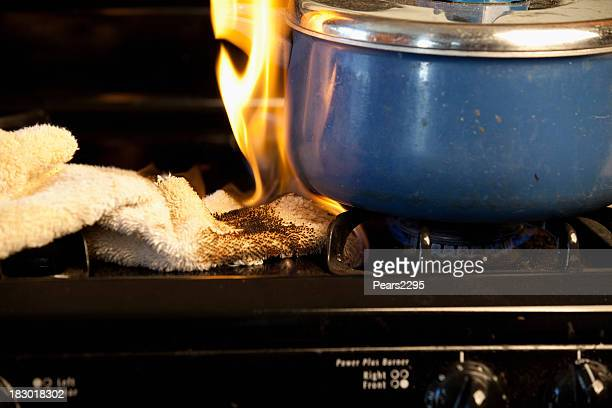 stove fire series - cooker stock pictures, royalty-free photos & images