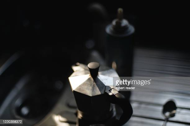 stove top coffee espresso maker - italian culture stock pictures, royalty-free photos & images