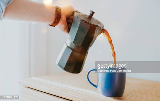 stove top coffee pot - coffee stock pictures, royalty-free photos & images
