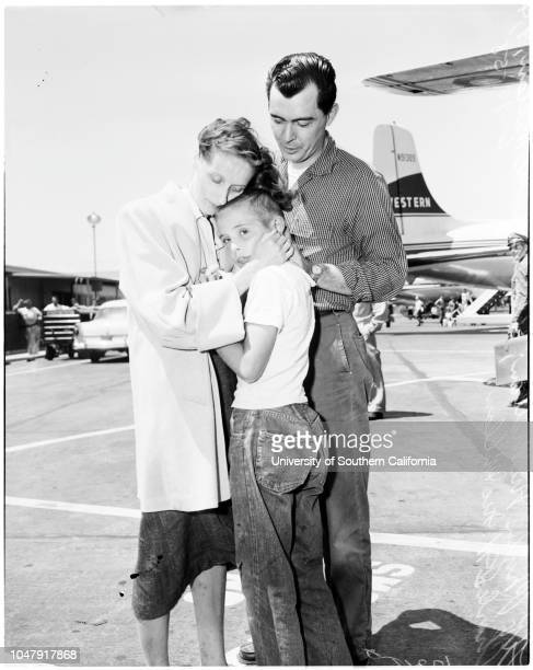 Stowaway trip by plane to Seattle, 14 June 1958. Charles J McMillan -- 9 years;Captain Joe Sedey ;Charles J McMillan ;Phylis McMillan ;Detective...