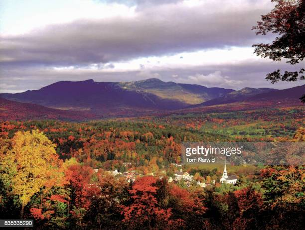 stowe village, vermont-1 - vermont stock pictures, royalty-free photos & images