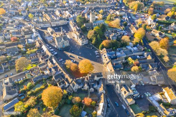 stow-on-the-wold town square viewed from a drone - stow on the wold stock pictures, royalty-free photos & images