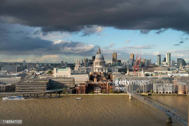 st.paul's cathedral in london cityscape - national landmark stock pictures, royalty-free photos & images