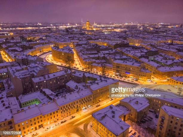 St.Petersburg aerial dusk view