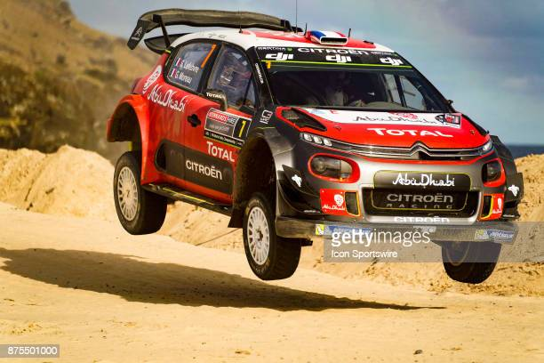 Stéphane Lefebvre and codriver Gabin Moreau of Citroën World Rally Team gets some air on a jump during Super Special Stage the Rally Australia round...