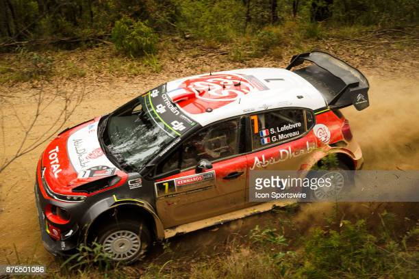 Stéphane Lefebvre and codriver Gabin Moreau of Citroën World Rally Team compete during the Pilbara Stage on day one of the Rally Australia round of...