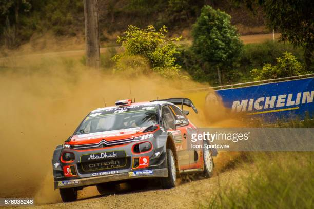 Stéphane Lefebvre and codriver Gabin Moreau of Citroën World Rally Team compete in the Argents section on day two of the Rally Australia round of the...