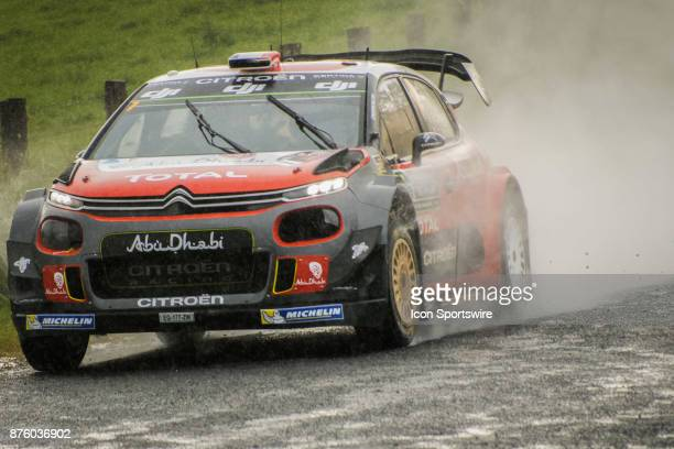 Stéphane Lefebvre and codriver Gabin Moreau of Citroën World Rally Team competes in the rain during the Nambucca Stage on day two of the Rally...
