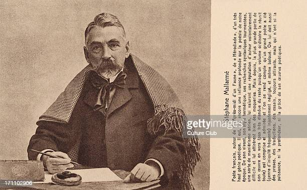 Stéphane Mallarmé at his writing desk - French poet. SM: 18 March 1842 – 9 September 1898