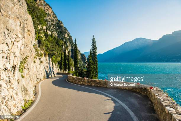 strada della forra (forra road) in tremosine, lake garda, italy. - lombardy stock pictures, royalty-free photos & images
