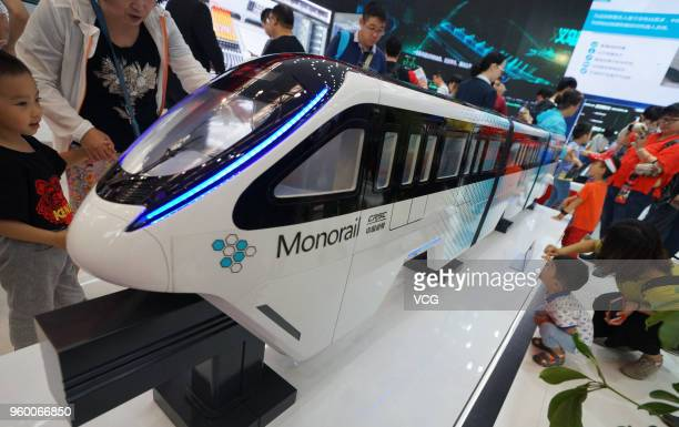 CRSE straddle monorail train is on display at World Intelligence Expo as part of the 2nd World Intelligence Congress on May 19 2018 in Tianjin China...