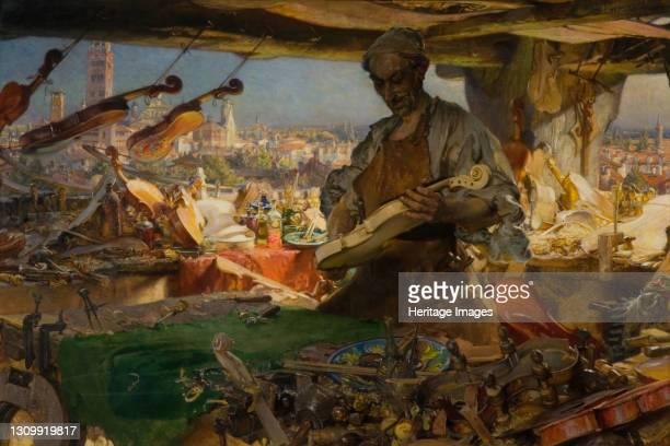 Stradivarius in his Workshop, 1913. Artist Edgar Bundy. .