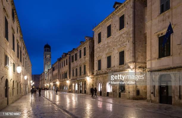 stradun at night, dubrovnik, croatia - limestone pavement stock pictures, royalty-free photos & images