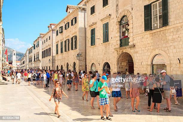 Stradun, Old Town shops and buildings in Dubrovnik, Croatia