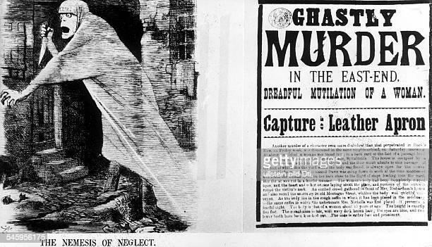 Strafende Gerechtigkeit fürVernachlässigung Karikatur auf Jack the Ripper den legendären Mörder von fünf LondonerProstituierten im Jahre 1888/89