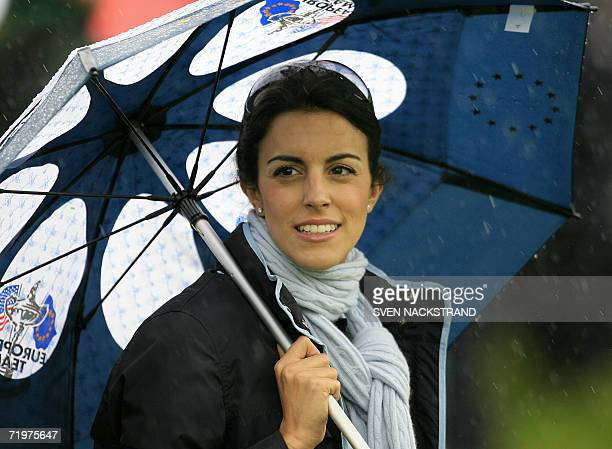 Diane Antonopoulos wife of European Ryder Cup player Luke Donald watches the action during the morning fourballs session of the second day of the...