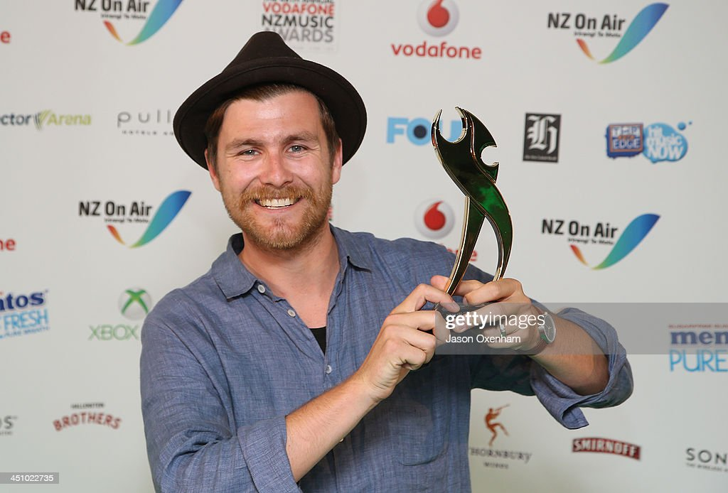 Strahan Posters poses with the award for best gospel/Christian album during the New Zealand Music Awards at the Vector Arena on November 21, 2013 in Auckland, New Zealand.