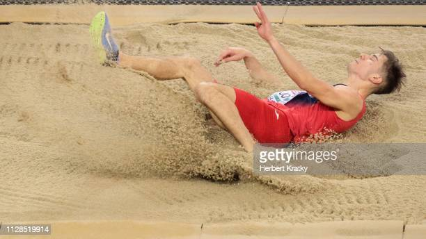 Strahinja Jovancevic of Serbia competes in the men's long jump event on March 3 2019 in Glasgow United Kingdom