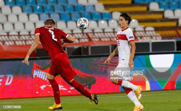 Strahinja Pavlovic of Serbia national football team in action against Enes Unal of Turkey national football team during the UEFA Nations League B -...