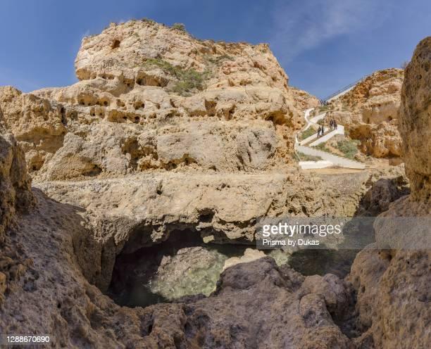 Straicase to the rocks of Algar Seca, Carvoeiro, Portugal.