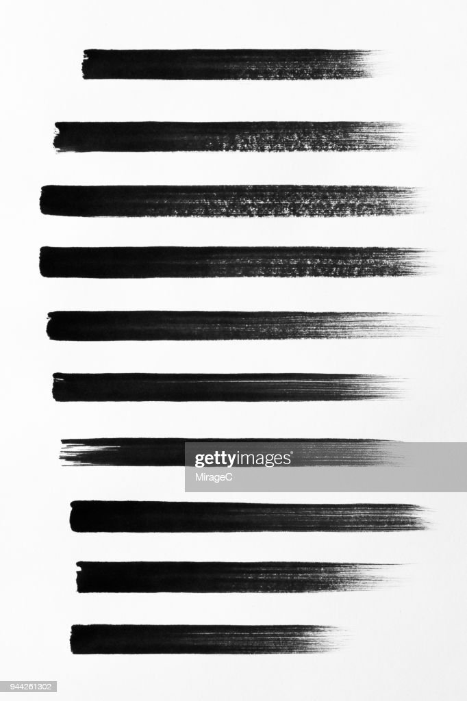 Straight Black Brush Strokes Set : Foto de stock