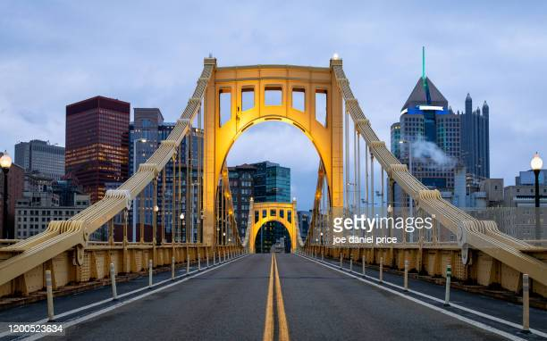 straight down, roberto clemente bridge, allegheny river, pittsburgh, pennsylvania, america - pittsburgh stock pictures, royalty-free photos & images